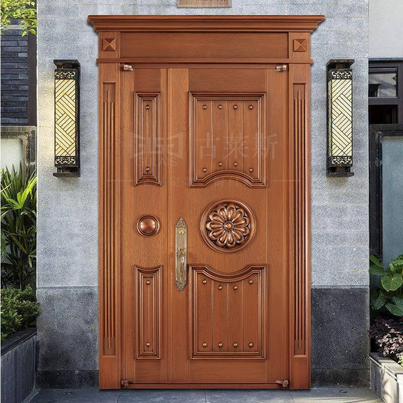 欧式铜门,双开单开,子母铜门GLS-TM-1017