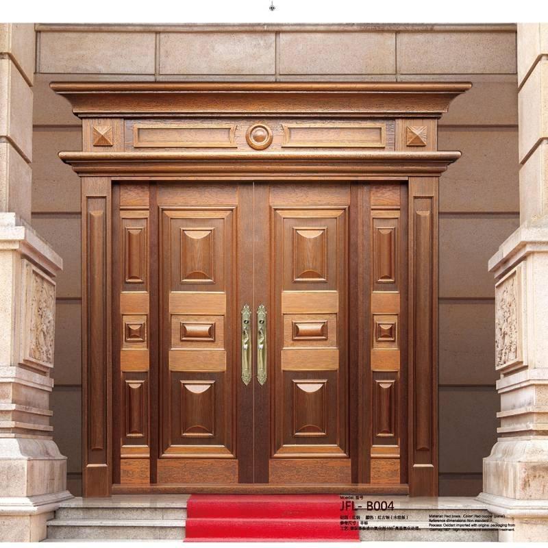 地下室铜大门,复式楼双开铜门,别墅子母铜门GLS-TM-1029